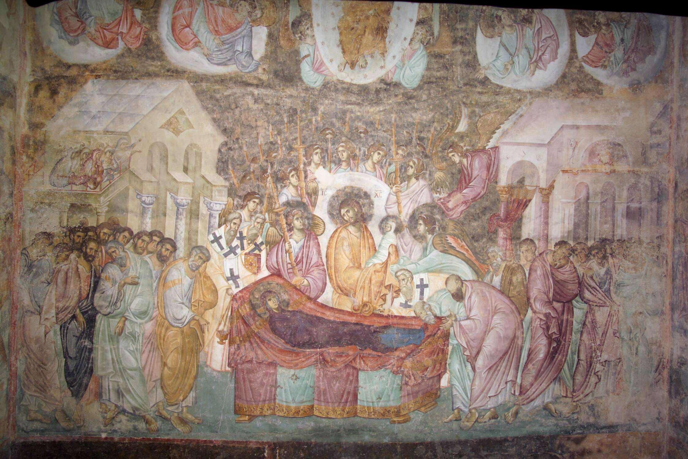 Успение Пресвятой Богородицы. Фреска XIII века в монастыре Сопочаны, Сербия. Фрагмент.