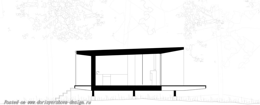 скандинавский загородный дом, один уровень, древесина