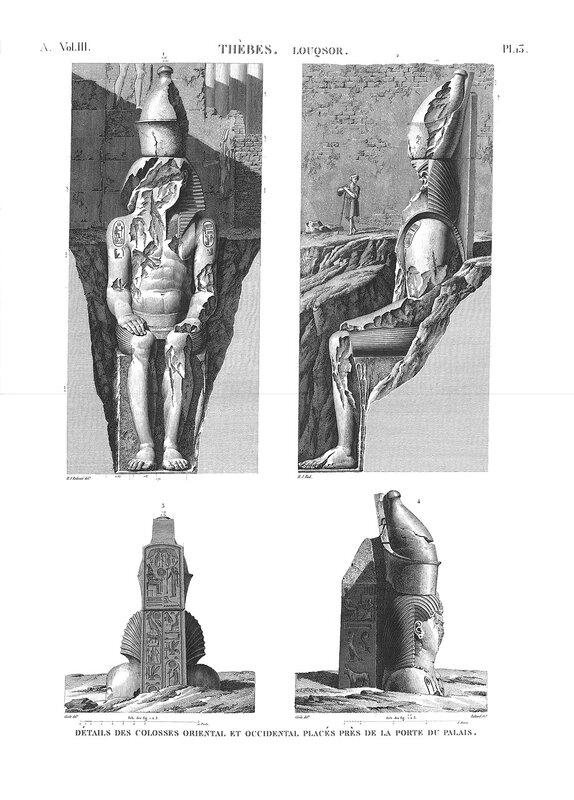 Храм Амона в Луксоре, верхний Нил, колоссы Рамзеса II, чертежи