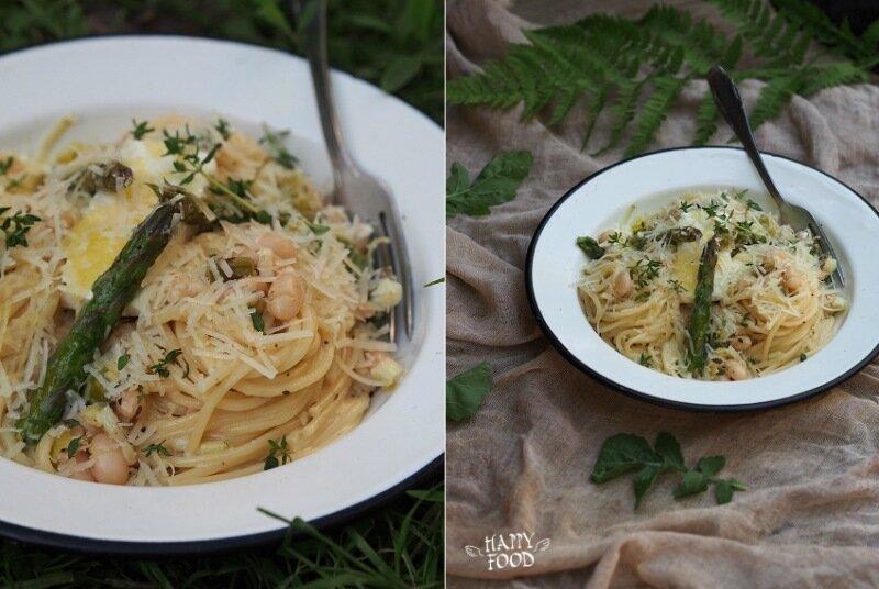 Спагетти со сливочным соусом, белой фасолью и спаржей