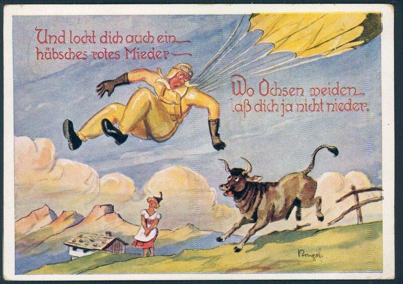 Немного юмора для разнообразия. Открытка довоенная. А например на Крите немецким десантникам было уже не до смеха.