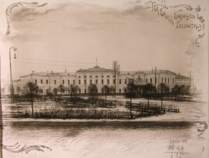 Общий вид главного корпуса госпиталя.