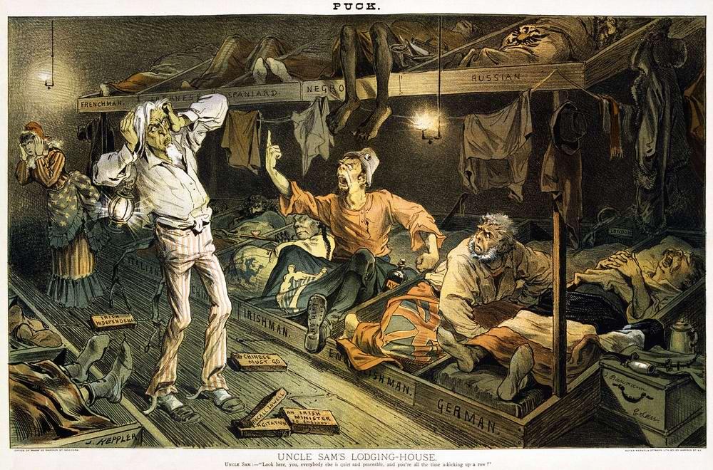 Дядя Сэм в ночлежке для бедных иммигрантов
