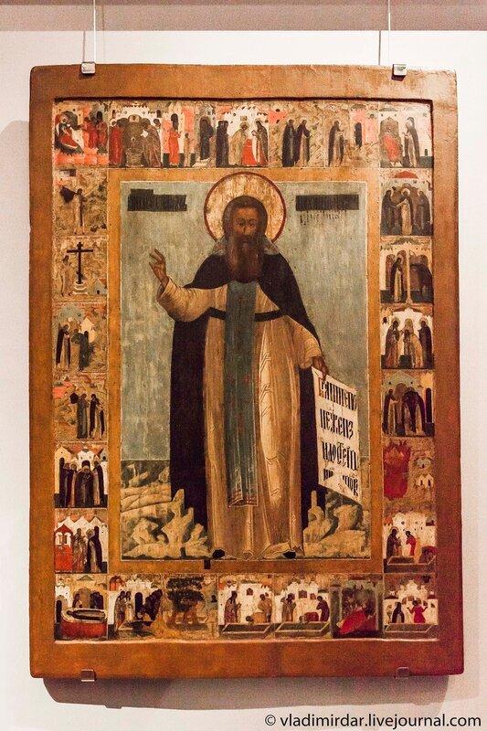 Икона «Преподобный Стефан, Махрищский чудотворец в 24 клеймах».