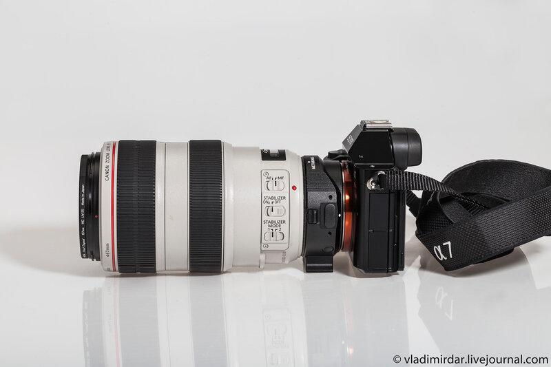 Полнокадровая компактная системная камера Sony Alpha A7R с объективом Canon EF 70-300mm f/4-5.6 L IS USM