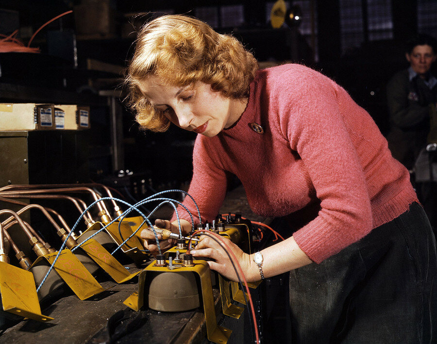 February 1943. Lucille Mazurek, age 29, ex-housewife, husband going into the service. Working at the Heil and Co. factory in Milwaukee on blackout lamps to be used on Air Force gasoline trailers.jpg