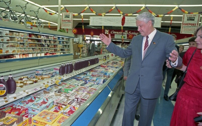 Communist Leader Boris Yeltsin astonished at the selection of goods in an Capitalist American Supermarket, Clear Lake, Texas 1989.jpg