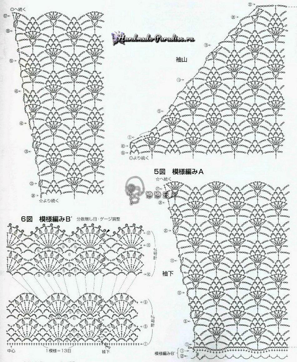 Схема блузы крючком