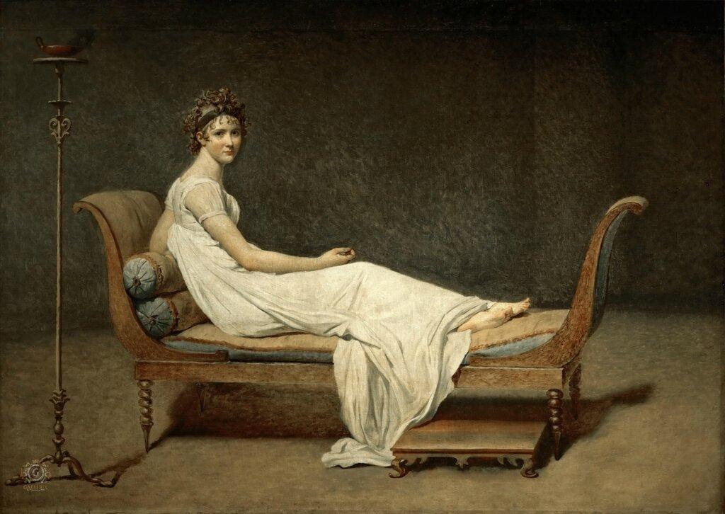 Жак-Луи Давид: Мадам Рекамье Лувр, Париж (Musée du Louvre, Paris).1800, 174х244