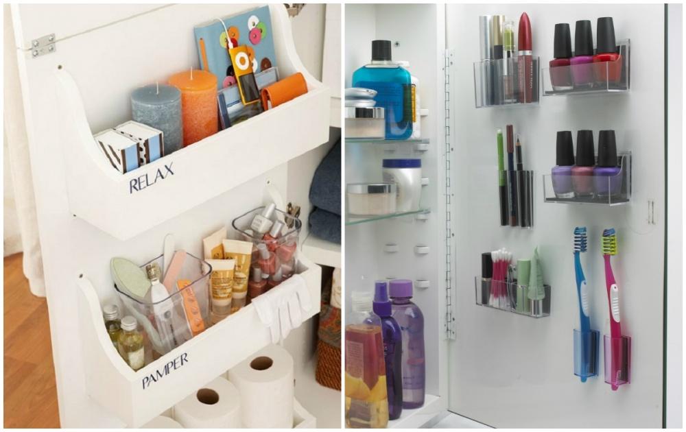 Дверцы шкафчиков вванной тоже можно использовать для хранения различных вещей. Нужно лишь установит
