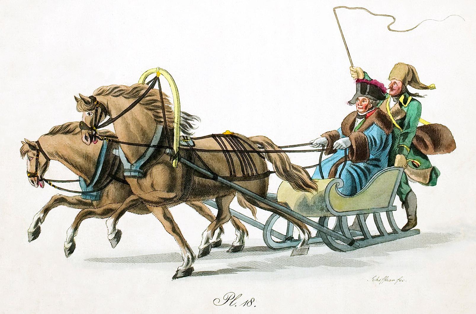18. Pferden gezogenen Schlittens mit Fahrgast und Kutscher / ���� � ���������� � �������