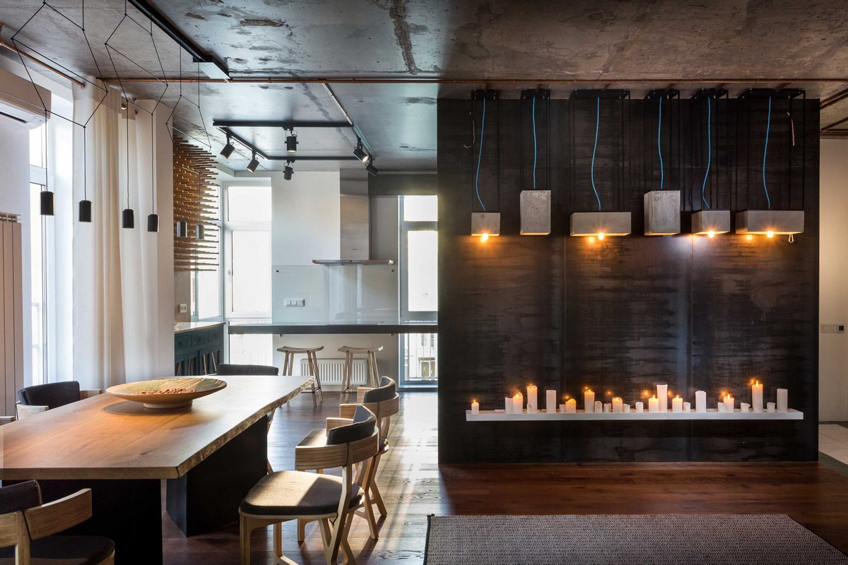Remodeled kiev apartment accent light fixtures as decorations