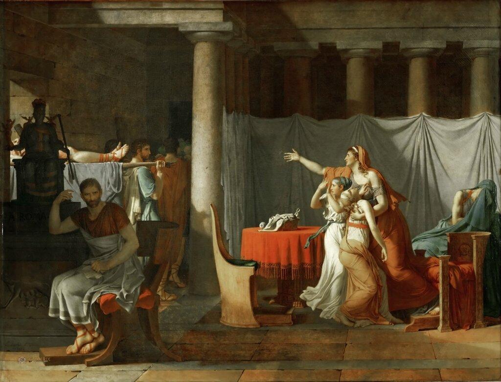 Жак-Луи Давид: Ликторы приносят Бруту тела его сыновей Лувр, Париж 1789, 323х422