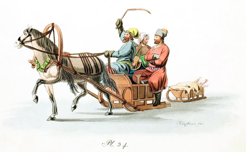 34. Pferdeschlittens (Wanka) mit Kutscher und zwei Fahrgästen / Ванька с двумя пассажирами