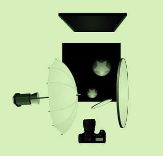 Фотография 20. Схема света для макросъемки капли.