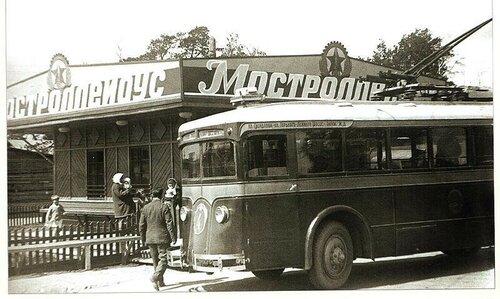 Конечная станция троллейбуса в селе Всехсвятском, 1934 г. Ныне площадь у м.Сокол