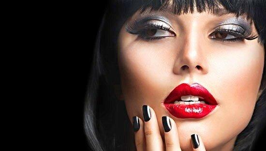 Beautiful Brunette Girl Portrait.Face.Makeup. Sensual Red Lips