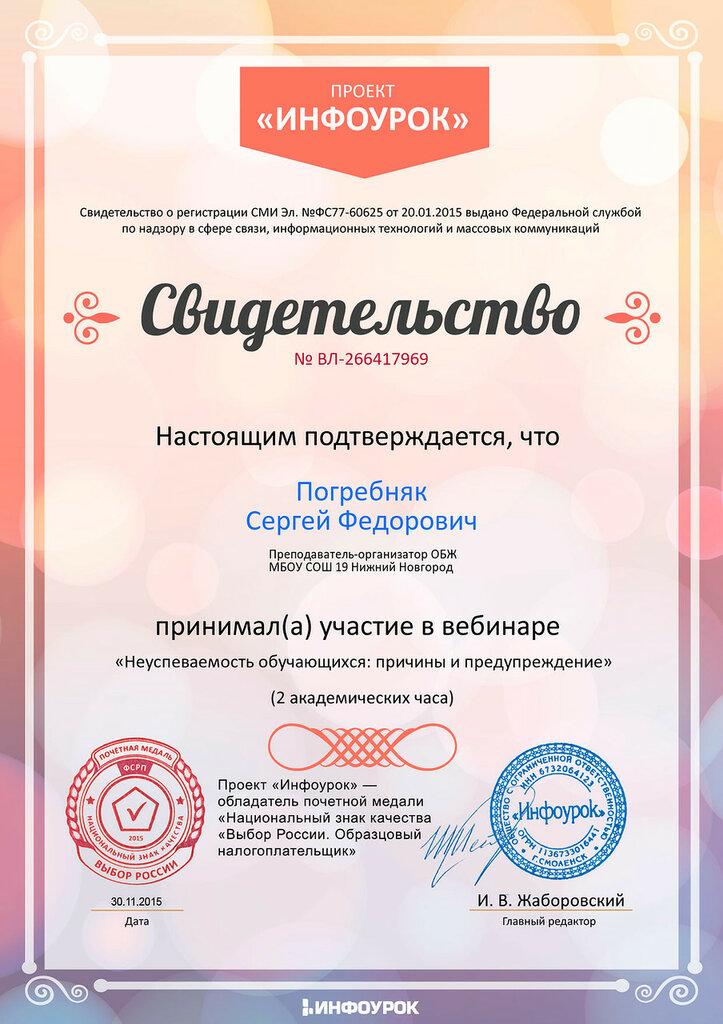 Свидетельство проекта infourok.ru № ВЛ-266417969.jpg