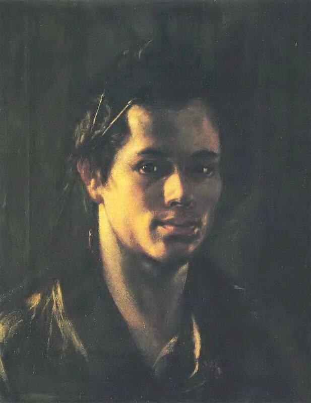 Автопортрет(q) с кистями за ухом. Ок.1808. Х., м. 46х36.5. ГТГ.jpg