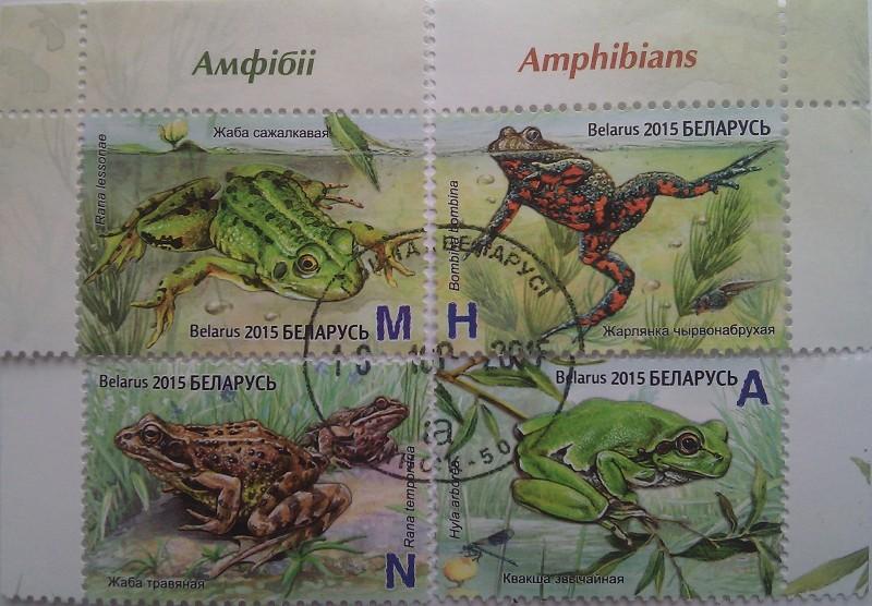 Белоруссия 2015 четыре марки с лягушками