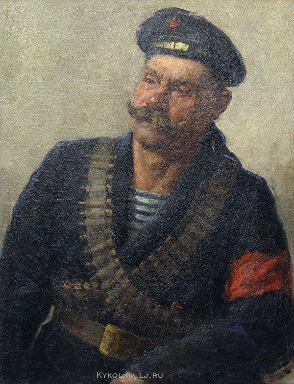 Бучкин Петр Дмитриевич (1886-1965) «Портрет революционного матроса» 1917.