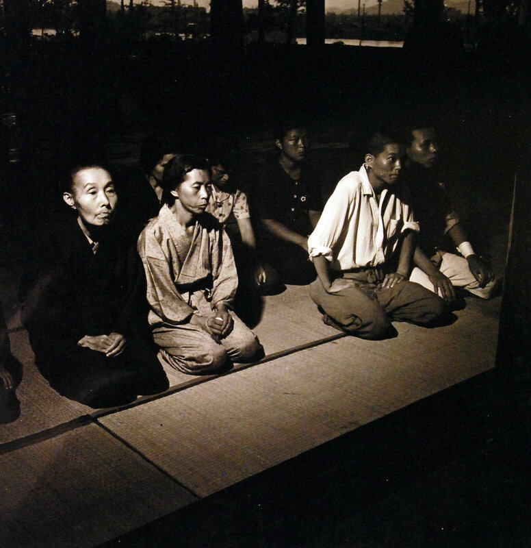 Japanese attend Shinto services in Hiroshima for friends and relatives killed in the atomic bomb blast on August 6, 1945. September 1945