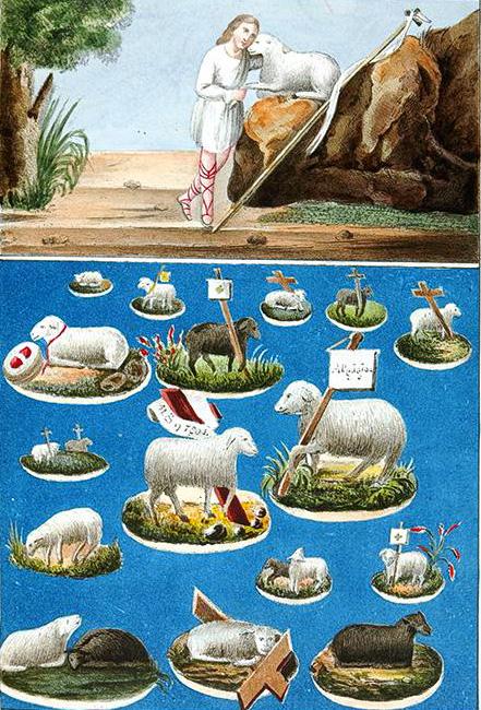 8. Изображение агнцев (снимок с картины, отобранной у скопцов). Литография из Исследования о скопческой ереси Надеждина 1845