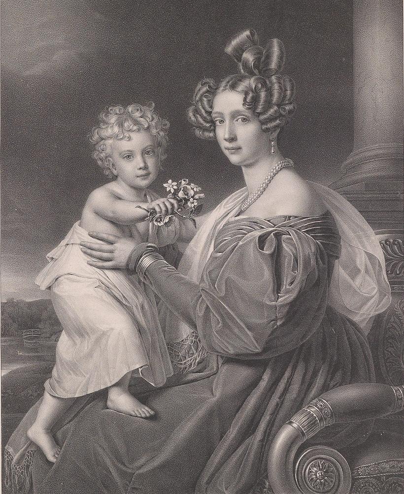 Erzherzogin Sophie mit ihrem Sohn Erzherzog Franz Joseph. Lithographie von G. Bodmer nach Stiele