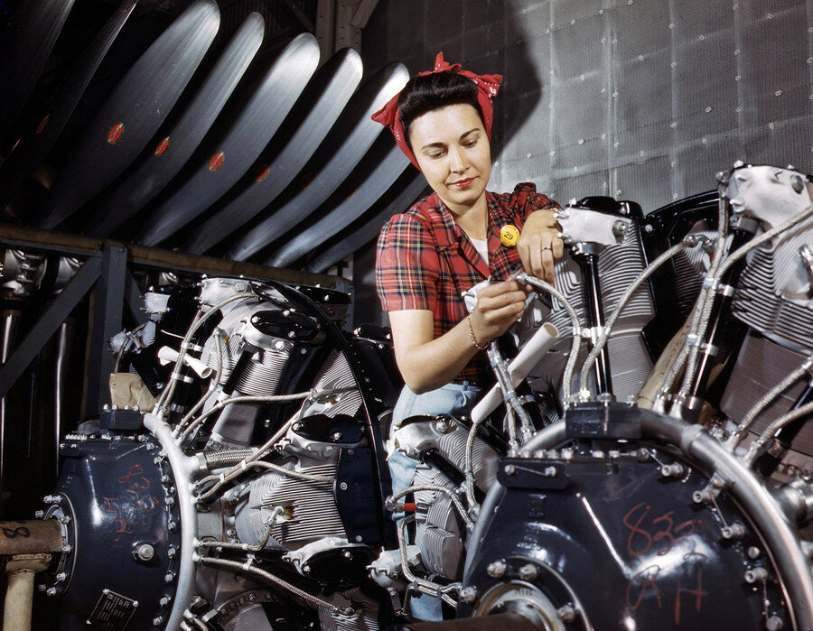 June 1942. Engine inspector for North American Aviation at Long Beach, California.jpg