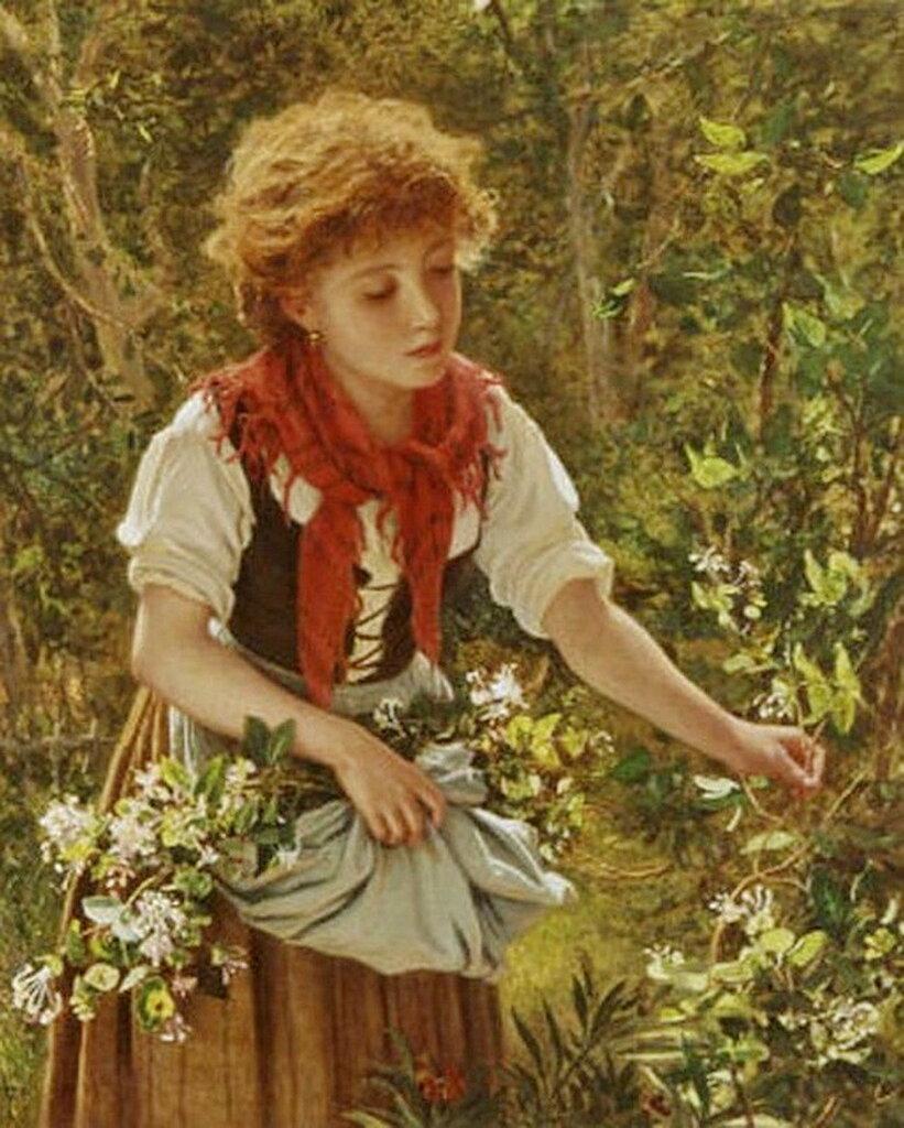 """""""Picking honeysuckle"""", 1860. Софи Жанжамбр Андерсон (1823- 1903)"""