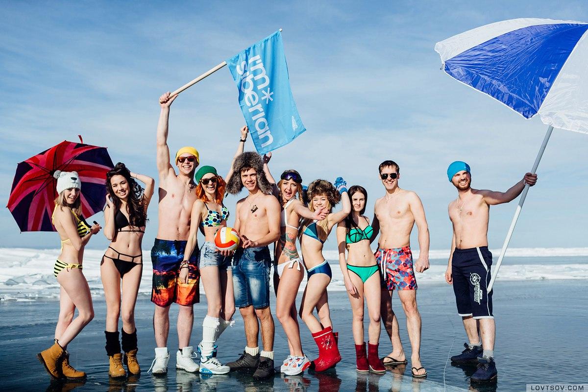 Вечеринка в купальниках на Байкале при температуре -20°С