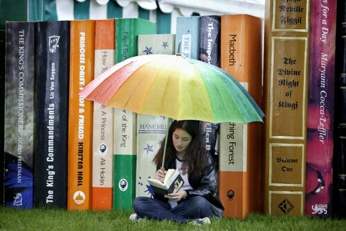 Teenage Girl Reading at Hay-on-Wye Book Festival