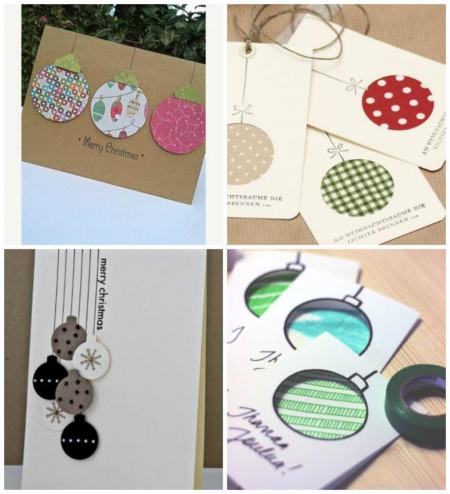 Один изглавных символов Нового года, елочные шарики, можно сделать изцветной бумаги, ткани или фет