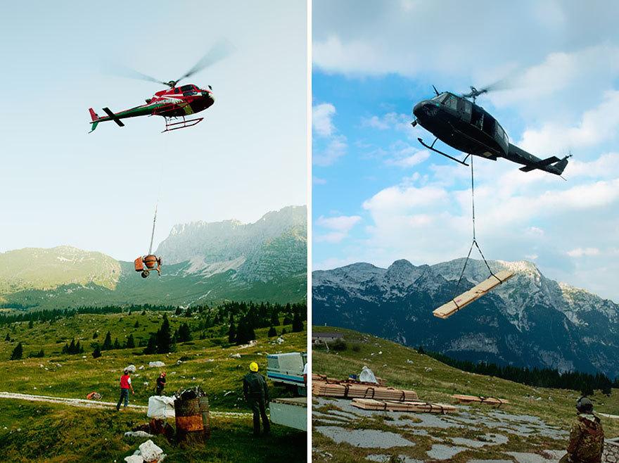 Из-за большой высоты и отсутствия дорог все материалы доставлялись при помощи вертолетов. Для этого
