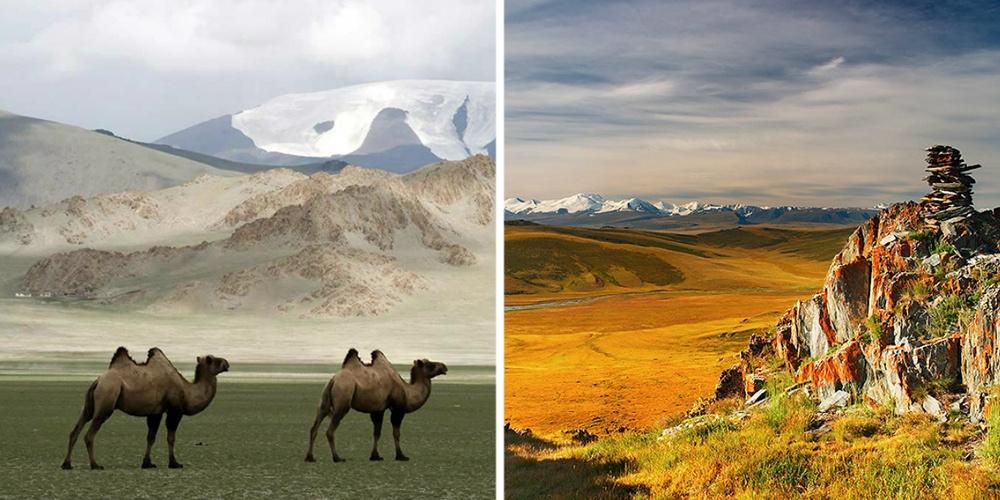 Монголия— это бескрайние степи ичистые озера, заснеженные пики Алтая ижаркие пески пустыни Гоби,