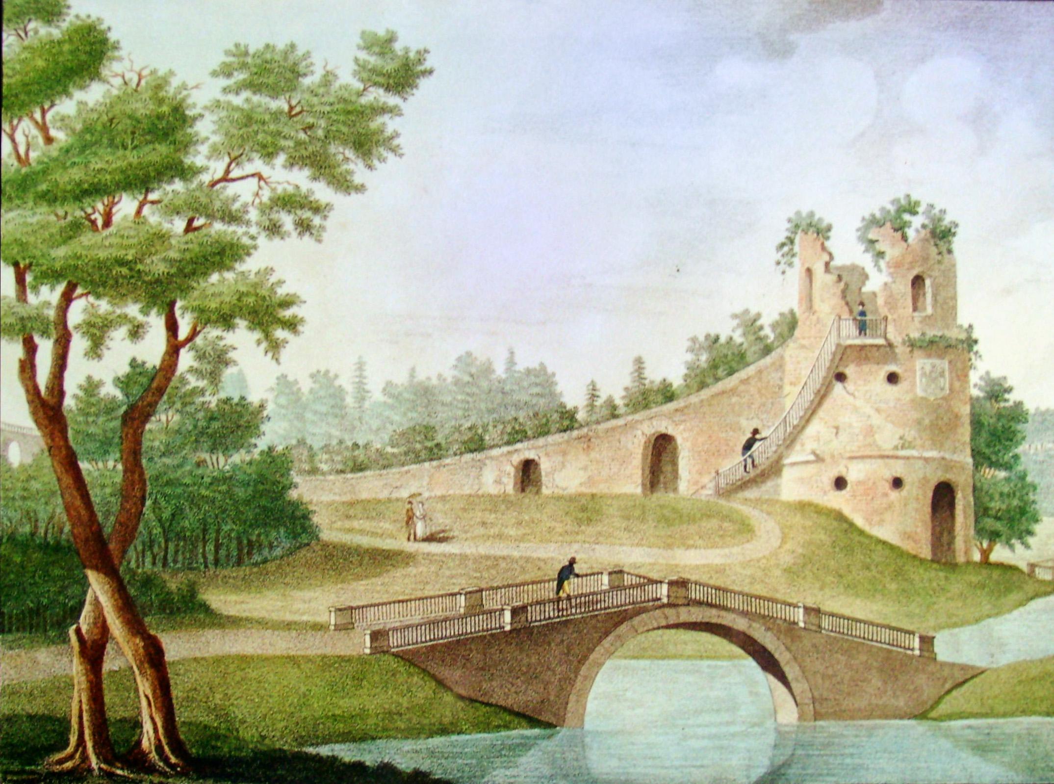 21. Вид Руины в Грузинском саду в память Князю Меншикову. Рисов<ал> на кам<не> У О. С. Родионов 1822-го