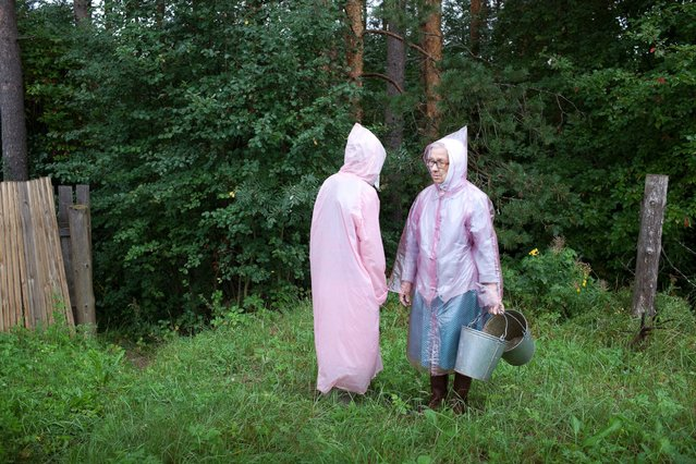 """Raincoats, 2013"". ""Up until the age of twelve, I visited the village house every summer and stayed"