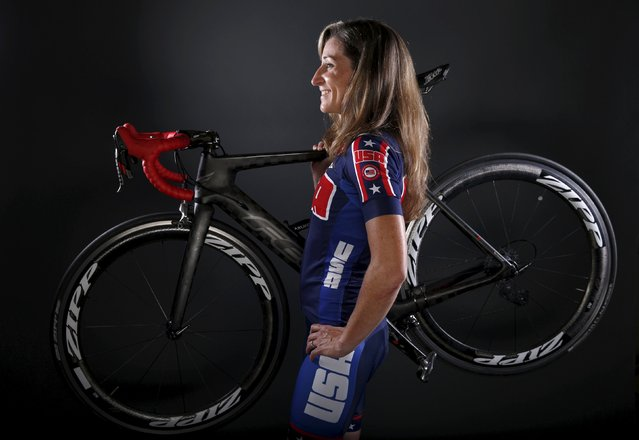 Paralympic cyclist Jamie Whitmore poses for a portrait at the U.S. Olympic Committee Media Summit in