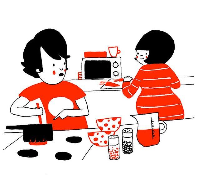 Любовь - это приготовление вкусных ужинов силами обоих