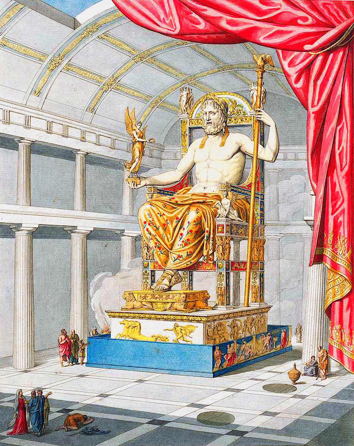 Юпитер (= Зевс), восседающий на троне, в интерьере храма  Воссоздание храма Зевса. Фронтиспис из редчайшей книги архитектора Катрмера де Кенси Олимпиец Юпитер, или искусство античной скульптуры в новом свете. 1815.