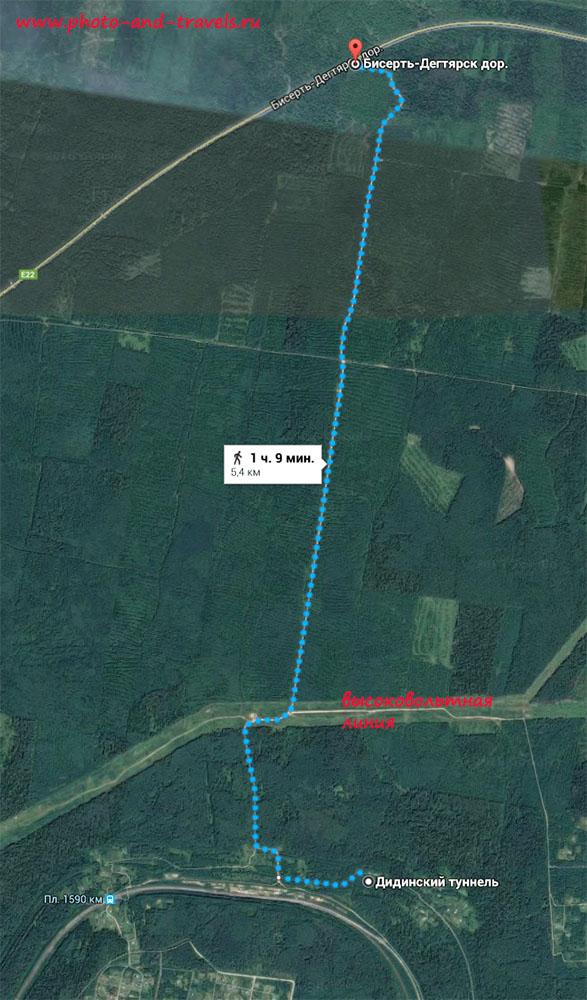 Карта со схемой похода выходного дня к Дидинскому тоннелю. Как добраться до него пешком.