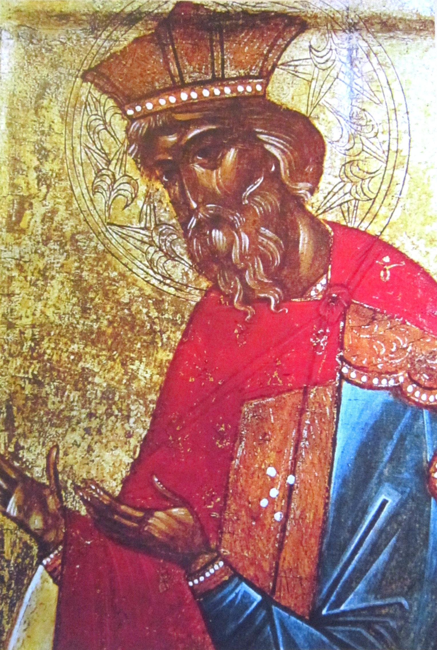 Святой Равноапостольный князь Владимир. Фрагмент иконы. Новгород, XV век.