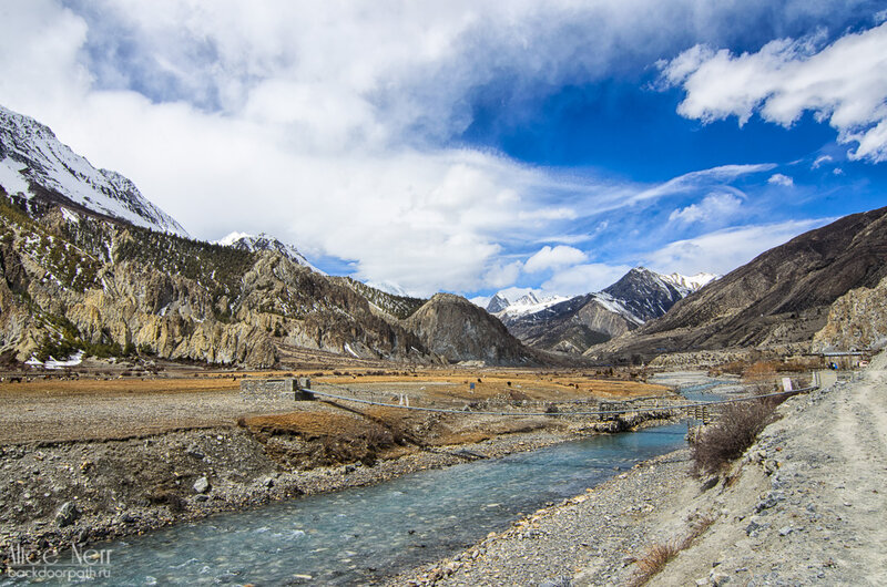 Река Марсъянди, Мананг, гималаи, непал, горы