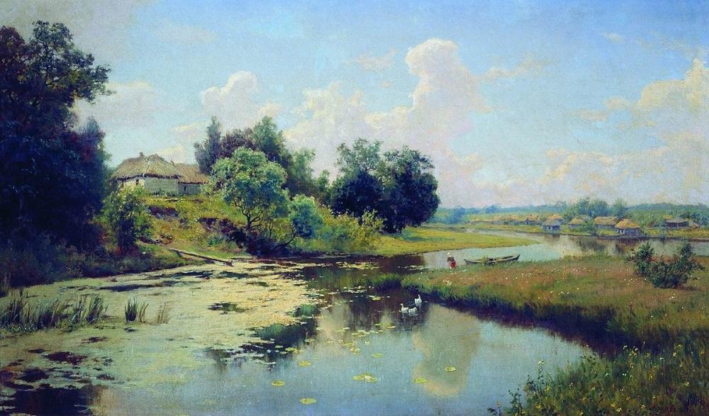 Деревня на берегу реки 1893 холст масло 82 х 135 см Запорожский областной художественный музей.jpg