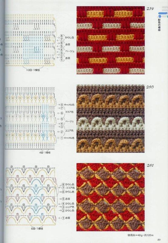 для многоцветные узоры крючком схемы с описанием фото пишут