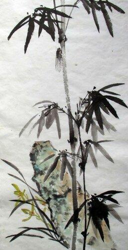 2014 08 06 Камень орхидея бамбук и цикада 68х33см.JPG