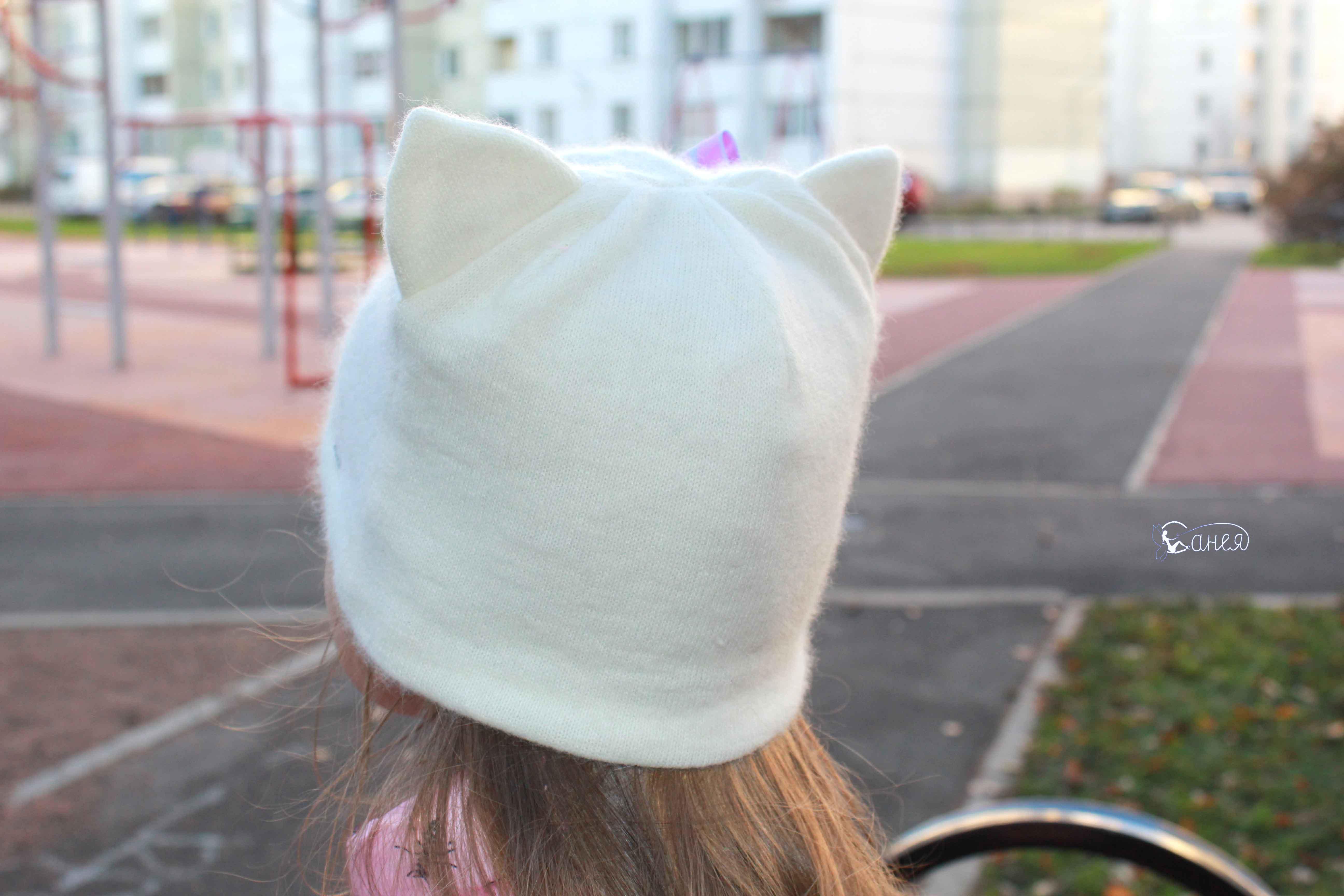Трикотажная шапка с ушками 32