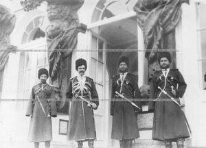 Группа офицеров конвойцев у входа в Екатерининский дворец.