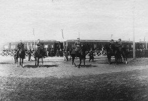 Прибытие императора Николая II в Калугу к месту расположения войск, направляющихся на Дальний Восток.