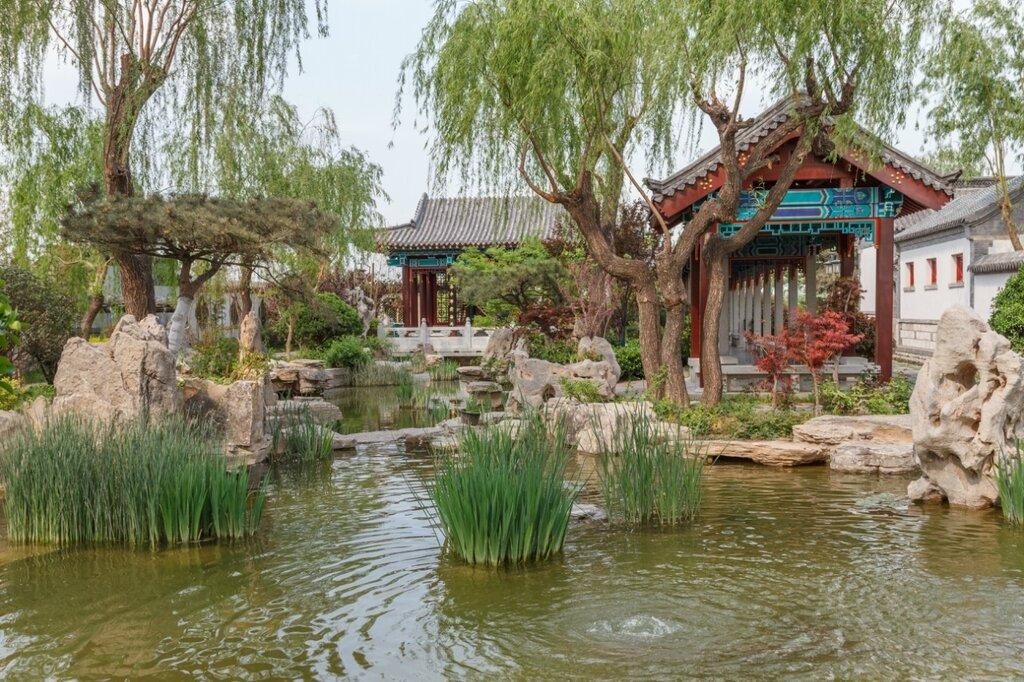 Павильоны и галереи у воды в саду Цзинань, Парк-выставка садов, Пекин